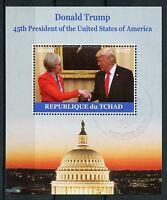Chad 2017 CTO Donald Trump Meets Theresa May 1v M/S US Presidents Stamps