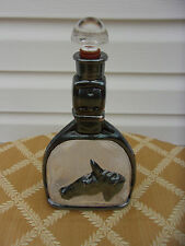 Sterling silver horse head overlay on glass decanter w stopper