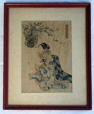 19th c.  UTAGAWA KUNIYOSHI (1797-1861) Early Woodblock Print, Geisha