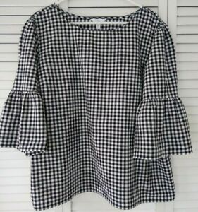"""WOMEN'S """"TIME AND TRU"""" BLACK/WHITE CHECK BLOUSE,3/4 LENGTH BELL SLEEVES,XXL(20)"""