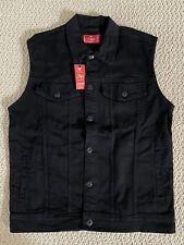 NWT Men's Stylo Classic Black Button Down Trucker Denim Jean Vest SIZES L XL 2XL