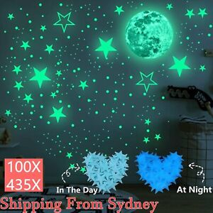 435X Wall Stickers Luminous Stars Moon Planet Decal Glow In Dark Kids Room Decor