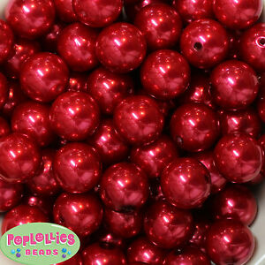 20mm Red Acrylic Faux Pearl Bubblegum Beads 20pc gumball chunky