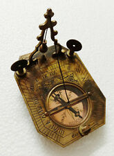 "Nautical Antique Maritime 5"" Brass Pendulum Sundial Compass with Wooden Box"
