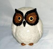 Vintage Owl Bank Figurine Japan White w Plug Ceramic Animal Figure Large Eyes