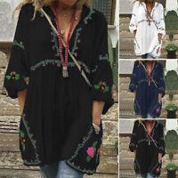 ZANZEA Femme Demi Manches à lanterne Shirt imprimé Loisir Simple Poches Haut