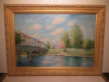 "24x36 original decretive oil painting by Edouard Cortes of ""French River Scene"""