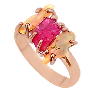 Liquation SALE 3 Stone Ruby Ethiopian Opal Raw 14k Rose Gold Ring Size 9 T37993