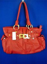 PAOLA DEL LUNGO Red Pebbled Leather NWT Large Tote Bag