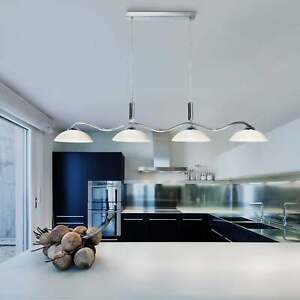 Searchlight Chrome 4 Light Bar Pendant with Frosted Glass Shades