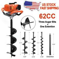 62CC Gas Powered Earth Drill Power Engine Post Hole Digger w/3 Auger Drill Bits