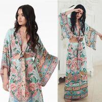 Women Vintage Hippie Kimono Sleeve Floral Print Maxi Dress 2Pcs LHM15