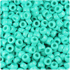1000 Light Turquoise Opaque 7mm Mini Barrel Plastic Pony Beads Made in the USA
