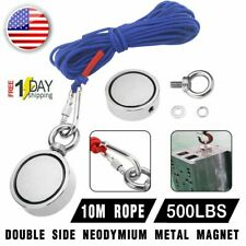 US 500LBS Big Fishing Magnet Kit Pulling Force Strong Neodymium +Rope +Carabiner