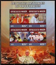 NIGER  2015 SOVIET PASTORAL VISITS OF POPE FRANCIS AT WAILING WALL BRAZIL SHEET