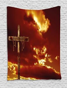 Religious Tapestry Empty Cross Messiah Print Wall Hanging Decor 60Wx80L Inches