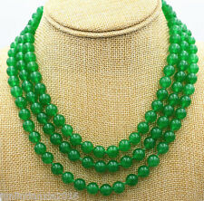 Charming 3 Rows 6mm Green Jade Gemstone Round Bead Necklace 18-20''