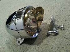 NEW  CHROME BULLET BICYCLE HEADLIGHT WITH GOLD VISOR,OLD SCHOOL VINTAGE LOOK