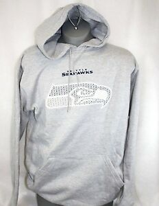 Mens Majestic Seattle Seahawks NFL Heather Gray Pullover Logo Football Hoodie