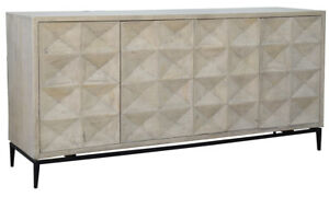 "72"" L Lee Sideboard 4 Door Bleached Mango Wood Black Iron Base Modern"