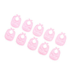 10 Pieces Lovely 1:12 Baby Bib Doll House Miniature Nursery Accessory Pink