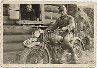 zwei Soldaten Motorrad WK2 Kradmelder NSU 351 OSL Bild Foto 10x14.5cm