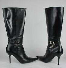 NEW Dior I LOVE DIOR Leather Black Knee Boots Heels Shoes 38