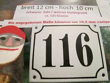 Hausnummer Emaille Nr. 116 schwarze Zahl auf weißem Hintergrund 12 cm x 10 cm