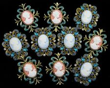 Wholesale 10x Rhinestone Cameo Brooch Pin Bridal Wedding Bouquet Decor Gift BLUE