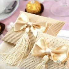Beige Pillow Shaped Paper Boxes Wedding Favors Gift Storage With Bow And Tassel