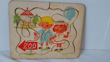 "PUZZLE HARDBOARD ZOO TRIP 9 1/4"" X 11 1/2"" Boy Girl Tiger Balloon"