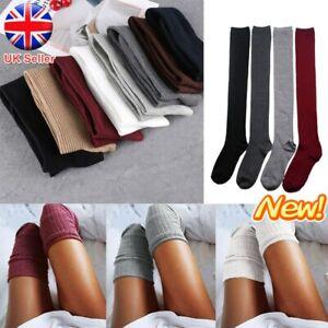 Ladies Girls Over the Knee Socks Plain Thigh High Socks Warm Cotton Stocking UK