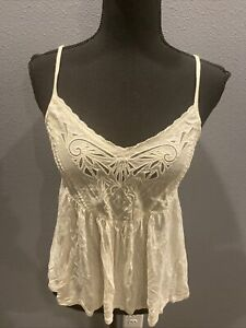 American Eagle Outfitters Women's Beige Spaghetti Strap Babydoll Top Size S