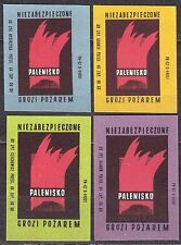 POLAND 1969 Matchbox Label - Cat.Z#950 set, Fire protection - uninsulated hearth