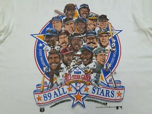 VTG 80s MLB 1989 ALL STAR GAME Caricature Double Sided T Shirt White Large L USA