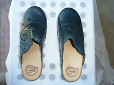 Dansko*Blue*Leather*Backless*Clogs*Mules*With*Flower*Cutouts*Sz*39*Eu