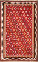One-of-Kind Geometric Tribal 5x8 Kilim Kashkoli Hand-Woven Red Wool Rug