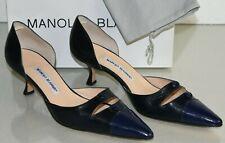 Nuevo Manolo Blahnik Geronda Dorsay BB Cuero Azul Marino Gatito Zapatos de Tacón