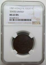 1787 4 CINQ P.R. STATES UNITED FUGIO COLONIAL COPPER COIN 1C NGC MS 63 BN
