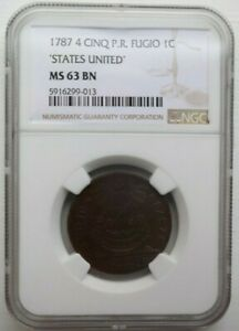 1787 4 CINQ P.R. STATES UNITED FUGIO COLONIAL COPPER COIN 1C NGC MS 63 BN