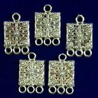 10Pcs Carved Tibetan Silver Flower Oblong Connector Pendant Bead YJ53PJ