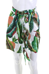 FARM Rio Womens Linen High Rise Forest Palm Tropical Print Shorts Green Size XS