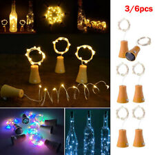3/6pcs 1M 10 LED Cork Wine Bottle Wire String Fairy Light Party Xmas Solar Lamp