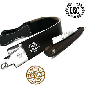 ZEVA Shave Ready Dark Wood Handle Straight Razor Rasoir with Leather Strop/Strap