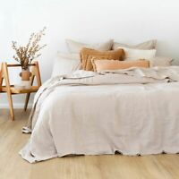 Bambury 100% French Linen Quilt Cover Set Pebble