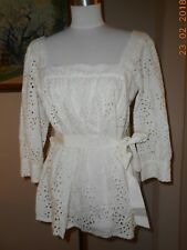 MILLY New York Eyelet Square Neck Peasant Tie Tunic Top Shirt Size 6 New NWT