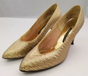 Private Collection Womens Shoes Stiletto High Heel Pumps Gold  Pointed Toe Sz 7B