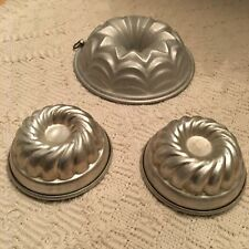 Antique Aluminum Lot of 3 Kitchen Molds for Large Doll or Child