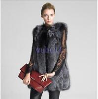 Women's Chic Fox Fur Winter Warm Vest Thick Waistcoat Outwear Sleeveless Coat WU