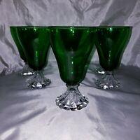 Emerald Green VNTG ANCHOR Hocking 9 Boopie Burple Stem Glasses! No chips/no Crk